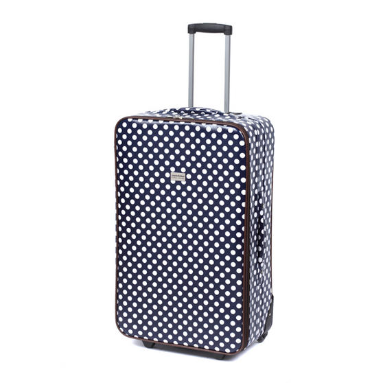 "Constellation Suitcase Travel Trolley, 28"", Navy Polka Dot"