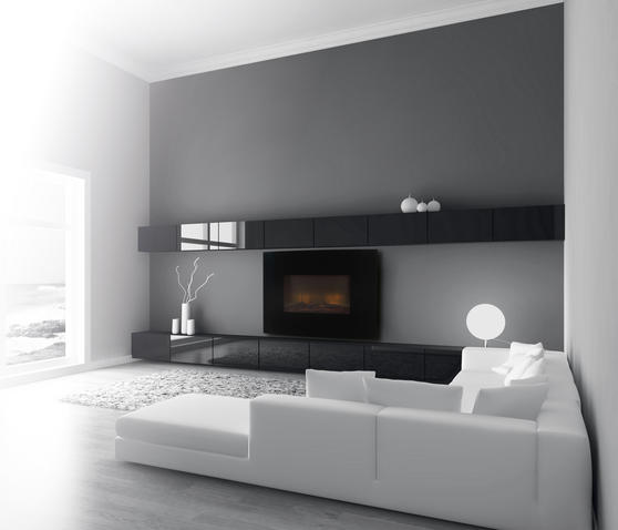 Beldray Parma Curved Black Log Effect Wall Fire Thumbnail 2