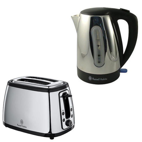russell hobbs silver kettle and toaster set student starter pack 4 small kitchen appliances. Black Bedroom Furniture Sets. Home Design Ideas