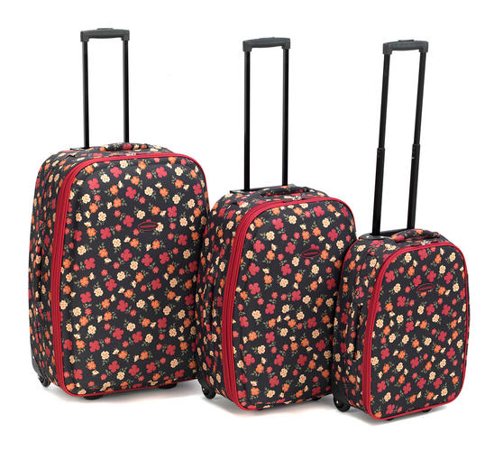 "Constellation 3 Piece Ditzy Floral Print Suitcase Set 18"", 22"" & 26"""