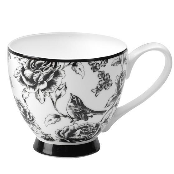 Portobello Footed Amalia Black Fine Bone China Mug
