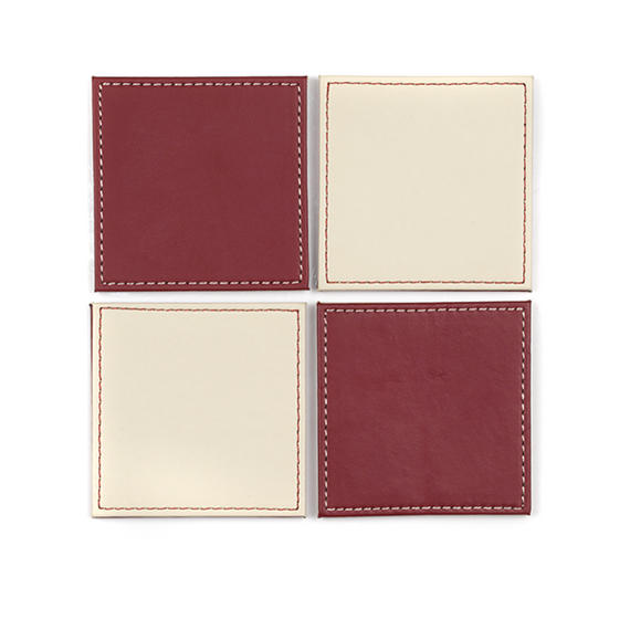 Indulje Luxury Reversible Coasters, 10 x 10cm, Faux Leather, Red/Cream, Set of 4