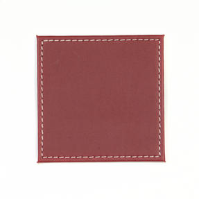 Indulje Luxury Reversible Coasters, 10 x 10cm, Faux Leather, Red/Cream, Set of 4 Thumbnail 3