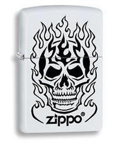 Zippo 28770 Flaming Skull Lighter in Black Presentation Box, Matte White