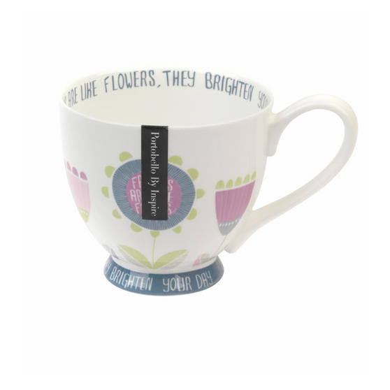 Portobello CM03506 Footed Friends Are Like Flowers Fine Bone China Mug