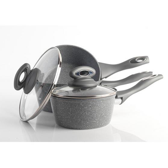 Salter Everest Forged Grey Marblestone 3 Piece Pan Set