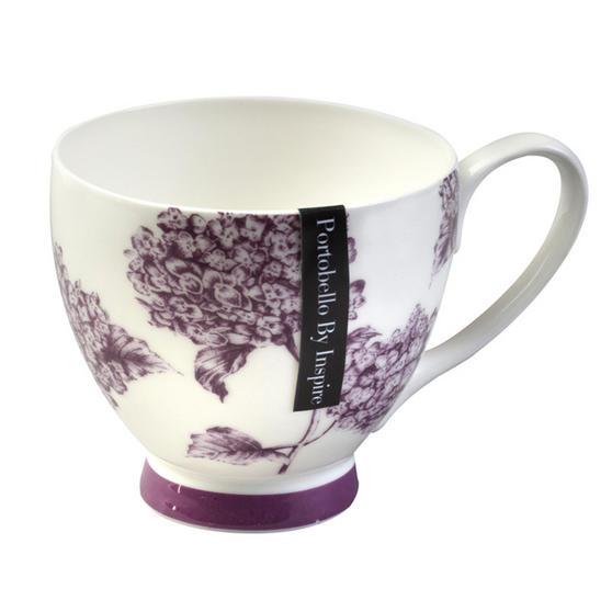 Portobello Footed Hydrangea Fine Bone China Mug