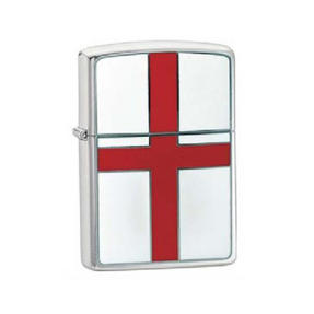Zippo CAB1177 St George Cross Lighter in Black Presentation Box, Brushed Chrome