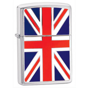 Zippo CAB1177 Union Jack Lighter in Black Presentation Box, Brushed Chrome