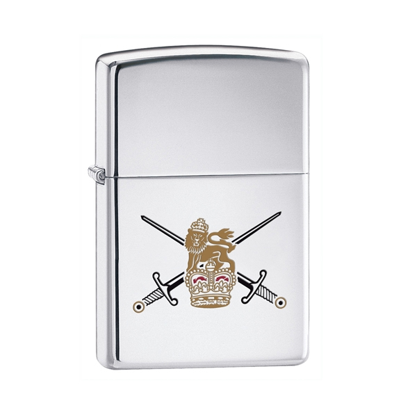 Zippo British Army Lighter, Etched Coloured Emblem In Black Presentation Box Enlarged Preview