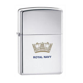 Zippo CAB1314 Royal Navy Emblem Lighter in Black Presentation Box, Chrome