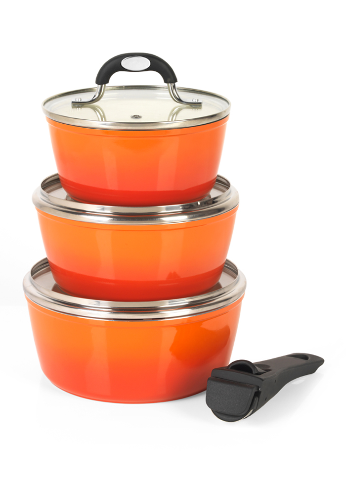 Salter Ceramic Coated Saucepan Set Orange Cookware Salter