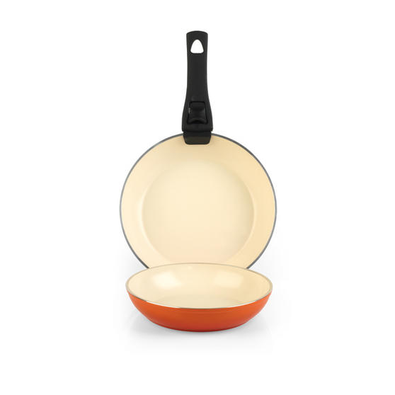 Salter Ceramic Coated Frying Pan Set Orange