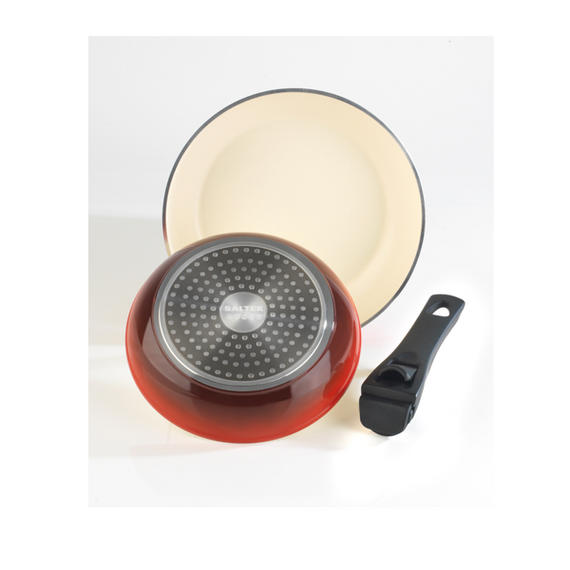 Salter Red Ceramic Coated Frying Pan Set with Detachable Handle