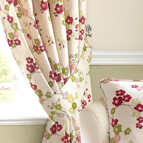 """Ashley Wilde Blossom Pink Floral Green Natural 26"""" Curtain"""