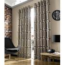 "Ashley Wilde Hoxton Black Geometric 66""x72"" Eyelet Ready Made Lined Curtains"