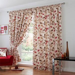 Leonie Chilli Ashley Wilde Pencil Pleat Cotton 46x54 Ready Made Lined Curtains
