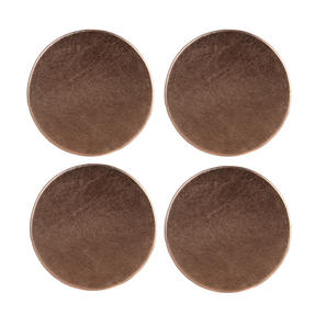 Inspire HY277473AS Luxury Round Metallic Coasters, 10cm, Faux Leather, Copper, Set of 4