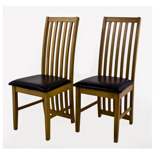 Ashleigh set of 2 quality oak finish dining chairs for Ashleigh dining set