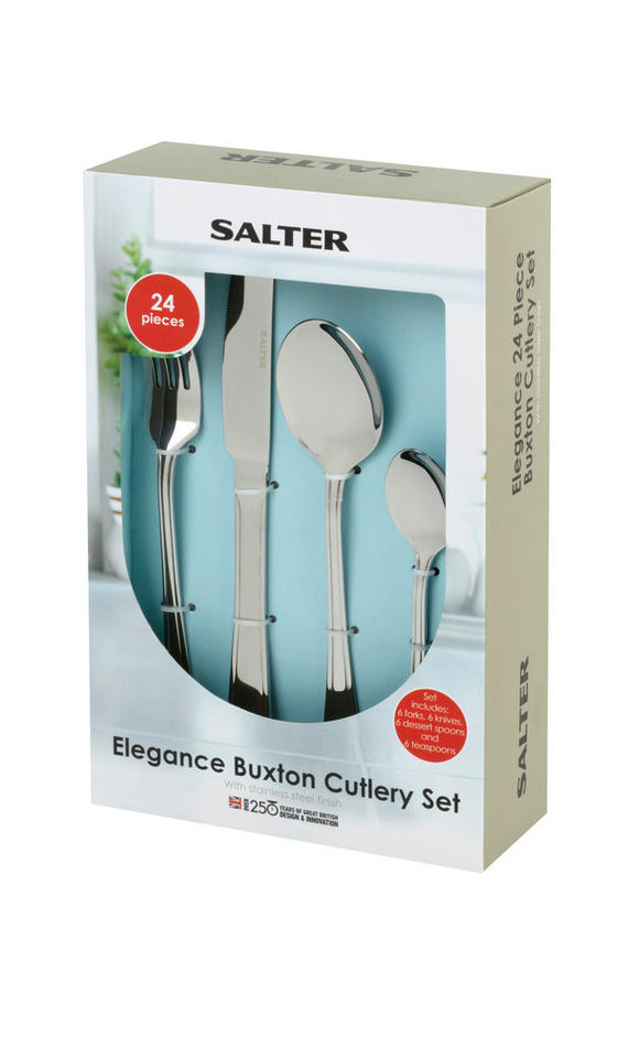 Salter Elegance Buxton 16 Piece Stainless Steel Kitchen Cutlery Set