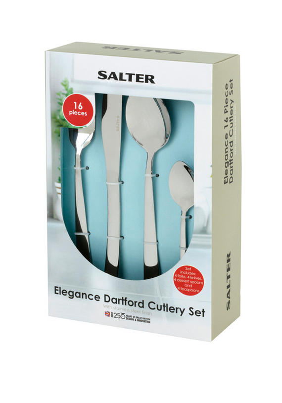 Salter Elegance Dartford 16 Piece Stainless Steel Kitchen Cutlery Set