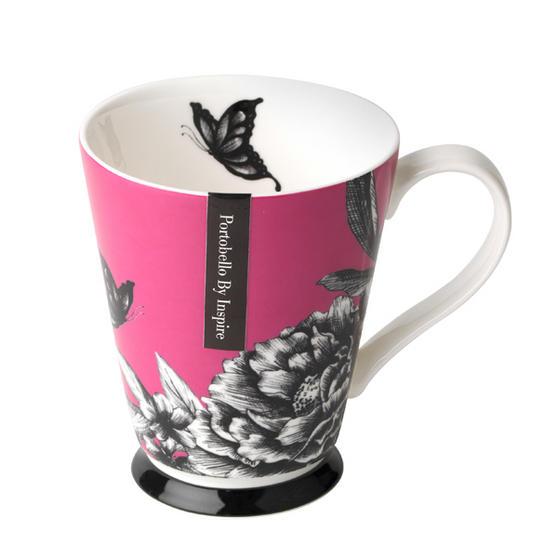 Portobello Buckingham Zen Garden Pink Bone China Mug
