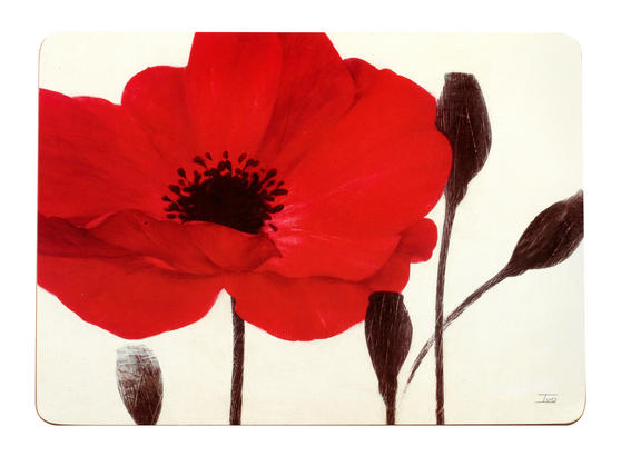 Inspire Luxury Poppies Hardboard Placemats, 21.5 x 29cm, Red, Set of 4