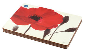 Inspire Luxury Poppies Hardboard Placemats, 21.5 x 29cm, Red, Set of 4 Thumbnail 2
