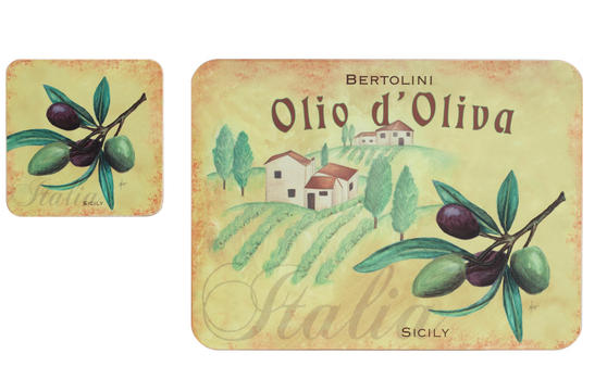 Indulje Luxury Olive Oil Placemat and Coaster Set, Cork, Set of 4