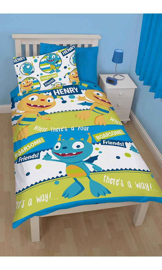 Disney Henry Hugglemonster Roarsome Single Reversible Rotary Duvet Cover Bed Set New Gift
