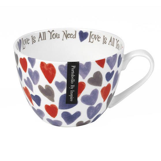 Portobello Wilmslow Watercolour Hearts Bone China Mug