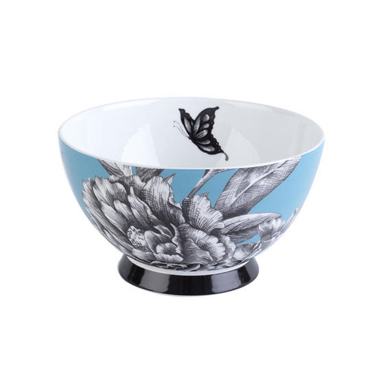 Portobello Footed Zen Garden Teal Bone China Bowl