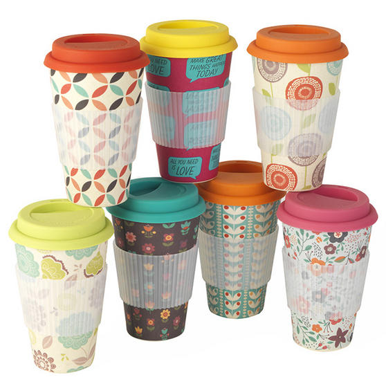 Cambridge Cm04438 Bamboo Retro Daisy Eco Travel Mug Cups