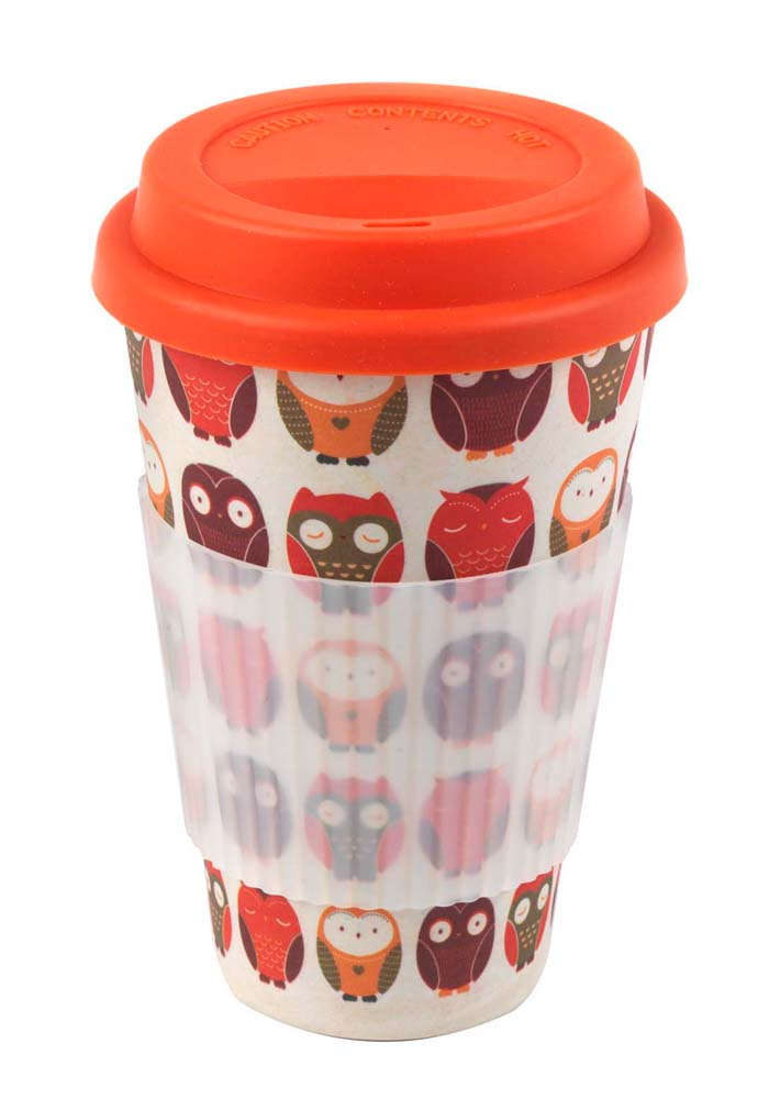 Cambridge Cm04530 Bamboo Owl Travel Mug Cups And Mugs
