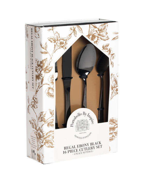 Portobello Regal Ebony Black 16 Piece Cutlery Set