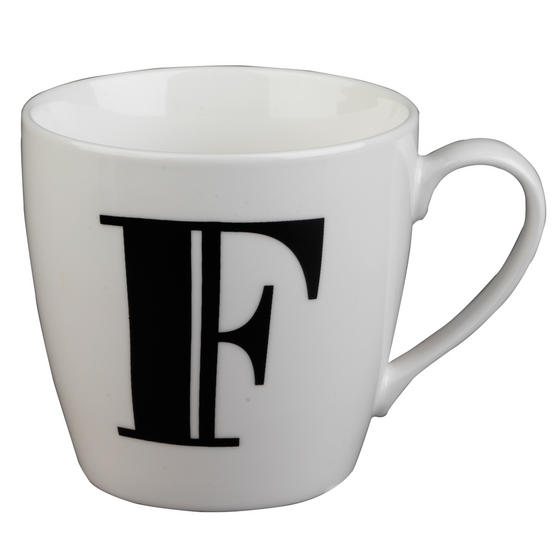 Inspire 10cm Fine Bone China Black Alphabet Mug F CM04616