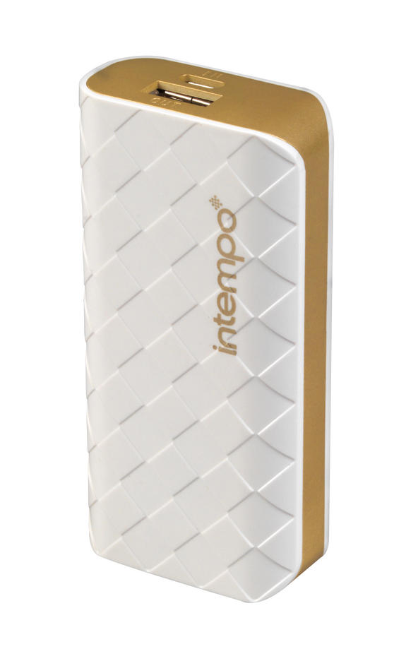 Intempo White & Gold 4000MaH Checked Power Bank Charger