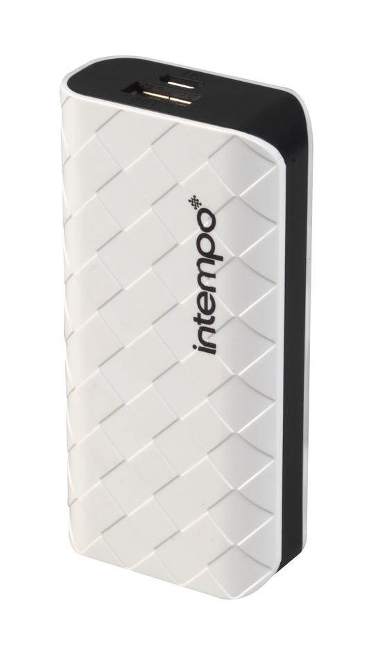 Intempo White & Black 4000MaH Checked Power Bank Charger