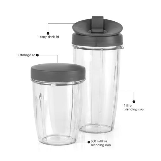Salter NutriPro Accessory Pack, 800ml & 1 Litre Blending Cups, Silver
