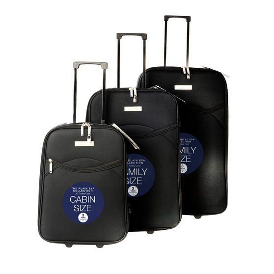 Constellation Eva 3 Piece Suitcase Set, 18/24/28?, Plain Black