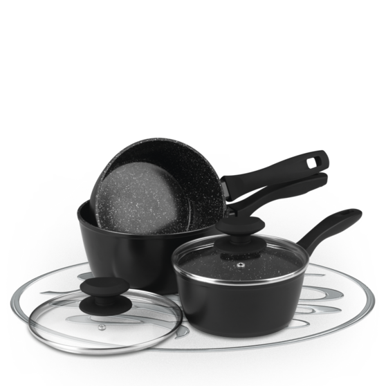 Russell Hobbs Stone Collection 3 Piece Black Pan Set BW04221 Preview