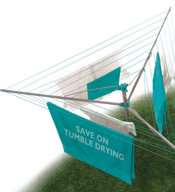 Beldray LA027634TQ Turquoise 26 Metre Rotary Outdoor Clothes Airer Thumbnail 2
