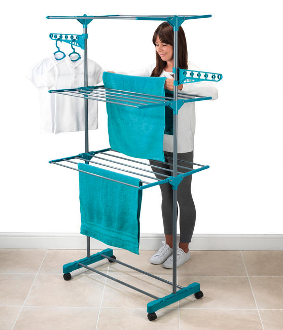 Beldray LA023773TQ Turqouise 3 Tier Deluxe Clothes Airer Thumbnail 5