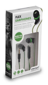 Intempo EE1213GRN Green Flex Fabric Cable Earphones Thumbnail 3
