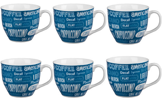 Cambridge CM03612 Oxford Coffee Shop Blue Fine China Mug Set of 6