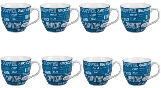 Cambridge CM03612 Oxford Coffee Shop Blue Fine China Mug Set of 8