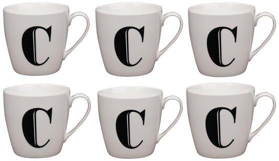 Cambridge CM04032 Harrogate C Black Alphabet Fine China Mug Set of 6