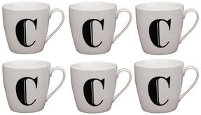 Cambridge CM04032 Harrogate C Black Alphabet Fine China Mug Set of 6 Thumbnail 1