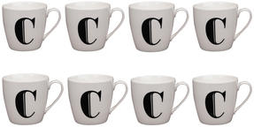 Cambridge CM04032 Harrogate C Black Alphabet Fine China Mug Set of 8 Thumbnail 1