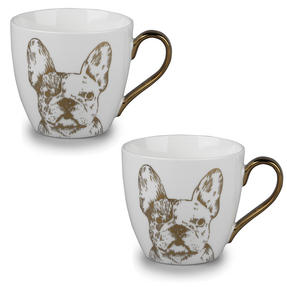Cambridge CM05045 Kendal Gold Bulldog Fine China Mug Set of 2 Thumbnail 1
